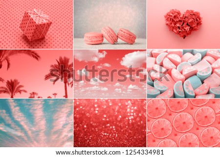 Trendy creative collage in Living Coral color of the Year 2019. Love heart, sweet, holiday gift, fashion. #1254334981