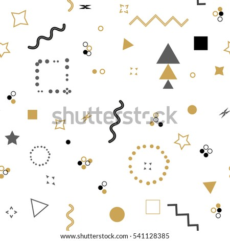 Trendy geometric elements memphis card. Seamless memphis pattern for tissue and postcards. Hipster poster, black and golden color background. Rasterized copy