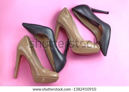 a26ea6699 Trendy glamour fancy group of 2 pairs shoes black classic and nude beige  pink patent glossy