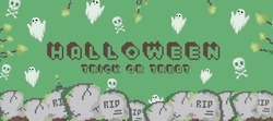 Trendy Green Happy Halloween banner or digital invitation background in retro 8 bit pixel art style. Modern pixel art halloween background with ghosts, skulls, tombs and graves. 8 bit gamer design