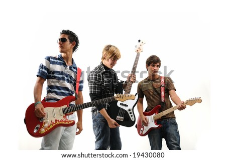 Trendy group of teenagers with musical instruments - isolated