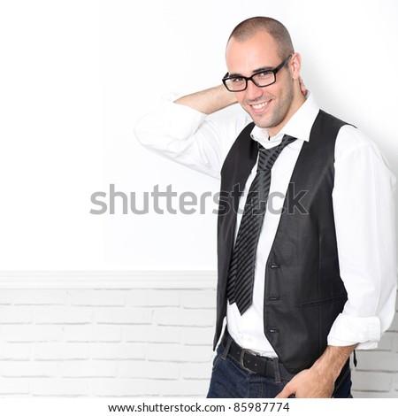 Trendy guy wearing black and white - stock photo