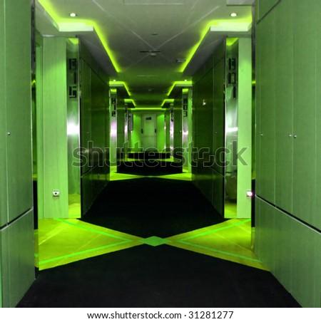 Trendy hotel corridor - stock photo