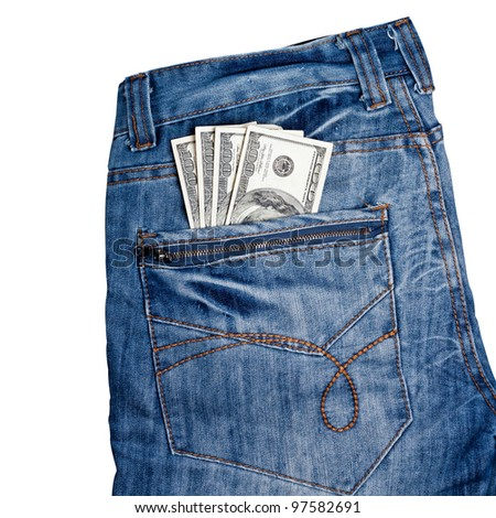 Trendy jeans with american 100 dollars bills on its back pocket isolated on white