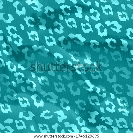 Trendy Leopard Pattern Smooth Detailed Background Color Grade Effects Seamless Design for Fashion Prints Turquoise Tones Foto stock ©