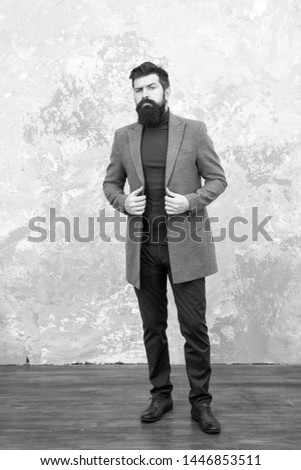 trendy man with beard. Modern life. Male fashion model. Mature businessman. Casual style. Brutal bearded hipster in denim wear. autumn style of trendy man. trendy man in fall coat. Ambitious man. #1446853511