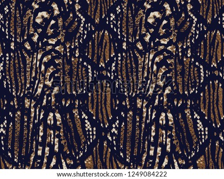 Trendy Mix animal skin prints ,Leopard, snake, zebra, tiger safari africa seamless pattern  design for fashion,fabric and all prints on brown background
