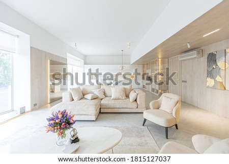 trendy modern interior design of a large studio in white and beige colors with large floor-to-ceiling windows. area of white kitchen with an island and a recreation area Сток-фото ©