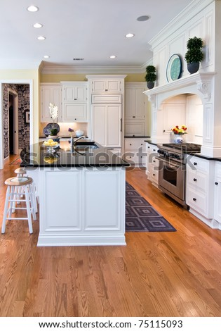 trendy modern kitchen with white cabinets and oak floor