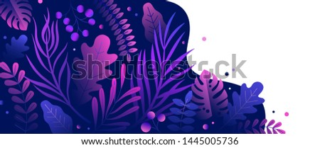 Trendy natural horizontal background with gradient colored lush tropical vegetation, exotic leaves or jungle foliage and place for text. Modern botanical illustration for advertisement.