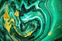 Trendy nature marble pattern. Abstract green ART. Natural Luxury. Style incorporates the swirls of marble or the ripples of agate. Very beautiful GREEN paint with the addition of gold powder.
