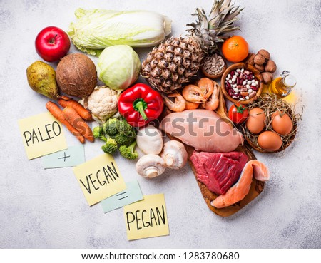 Trendy pegan diet. Paleo and vegan healthy products #1283780680