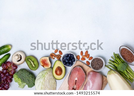 trendy pegan diet. pegan diet products : meat, fish, cereals, vegetables, nuts and berries. view from above #1493215574