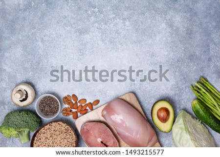 trendy pegan diet. pegan diet products : meat, fish, cereals, vegetables, nuts and berries. view from above #1493215577