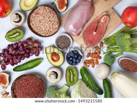 trendy pegan diet. pegan diet products : meat, fish, cereals, vegetables, nuts and berries. view from above #1493215580