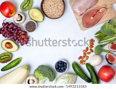 trendy pegan diet. pegan diet products : meat, fish, cereals, vegetables, nuts and berries. view from above #1493215583