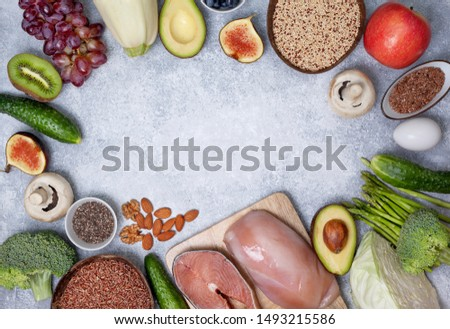 trendy pegan diet. pegan diet products : meat, fish, cereals, vegetables, nuts and berries. view from above #1493215586