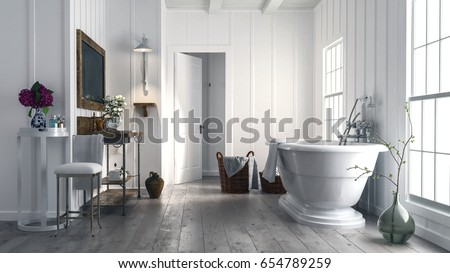 trendy rustic bathroom with...