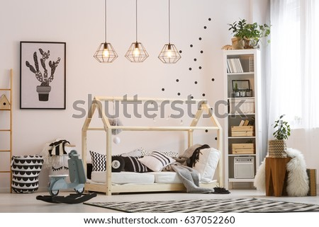 Trendy scandi style cozy room designed for baby boy #637052260