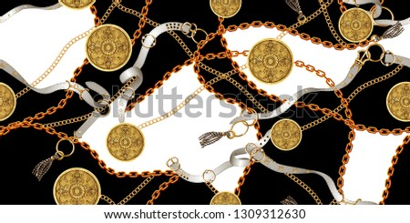 Trendy seamless pattern with gold chains and belts, patch for print, fabric, textile design on black and white background.