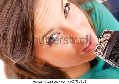 Trendy sexy Singer Girl Singing In Retro Mic