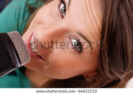 Trendy Singer (Girl Singing In Retro Mic)