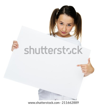 Trendy teenage girl pointing at blank card on white background