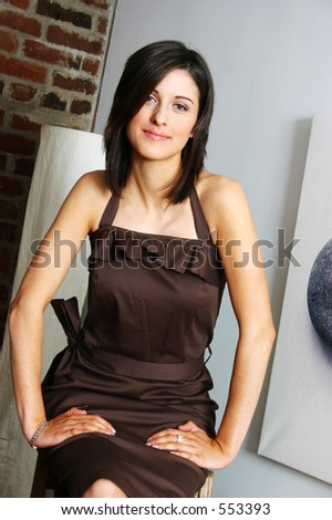Trendy woman in trendy space