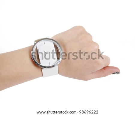 trendy wrist watch on woman hand isolated on white background