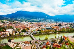 Trento aerial panoramic view. Trento is a city on the Adige River in Trentino Alto Adige Sudtirol in Italy.