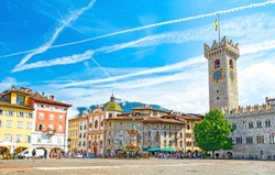 Trento, Trentino, Italy, Piazza Duomo main square, with frescoed Renaissance buildings and the Late Baroque Fountain of Neptune