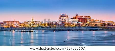 Trenton skyline panorama at dawn. Trenton is the capital of the US state of New Jersey.