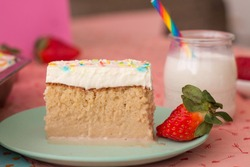 Tres Leches - Traditional Mexican Cake (with sprinkles)