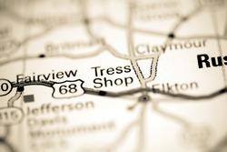 Tress Shop. Kentucky. USA on a geography map