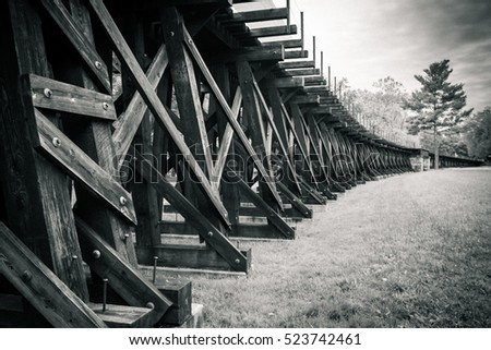 Trestle and Field Black and White over field