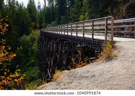 Trestle bridge in the forest