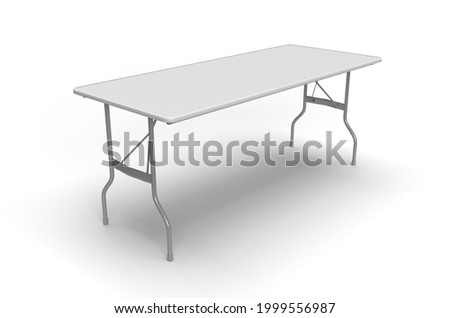 Trestle Table, Aluminum Frame Table with Plastic Top on White Back Ground, Isolated, 3D Render Stockfoto ©