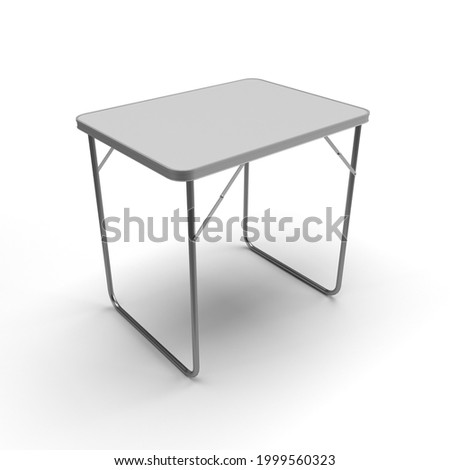 Trestle Table, Aluminum Small Trestle Table with White Plastic Top, 3D Render for Mockup and Illustrations on White Background with Casted Shadows and no reflection. Stockfoto ©