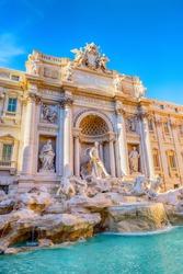 Trevi Fountain (Fontana di Trevi) in Rome, Italy. Trevi - the most famous fountain of Rome.