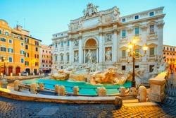 Trevi Fountain (Fontana di Trevi) in the morning light in Rome, Italy. Trevi is most famous fountain of Rome. Architecture and landmark of Rome.