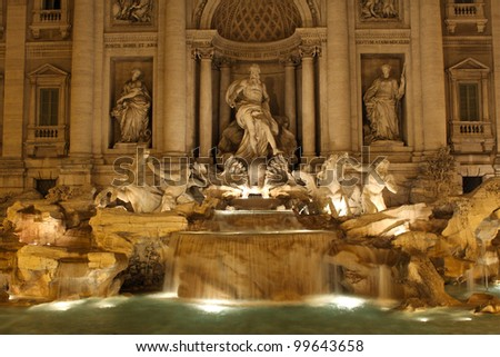 Trevi fountain in Rome at night.