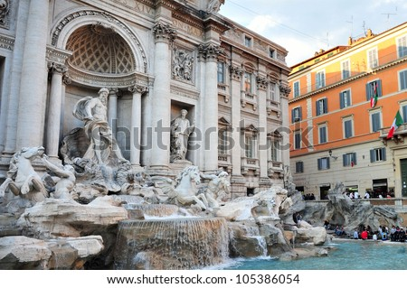 Trevi Fountain in Rome, Italy.it is the largest Baroque fountain in Rome and one of the most famous fountains popular tourist attraction in the world.