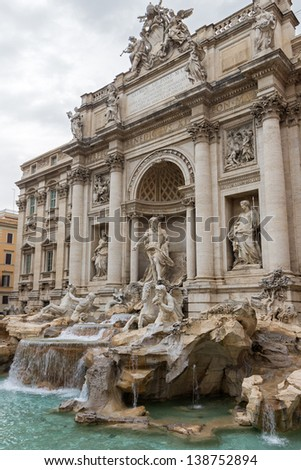 Trevi Fountain, the famous tourist attraction in Rome, Italy