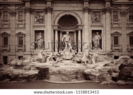 Trevi Fountain with Baroque style as the famous tourism attraction in Rome, Italy.