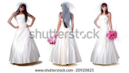 trhee brides with dark hair on a white background