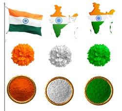 Tri colour INDIA FLAG, marigold tri color flag holi tri colour flag