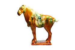 Tri-colour Tang Pottery horse by ancient china