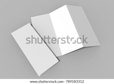 Tri-fold brochure on grey background, 3d illustration.