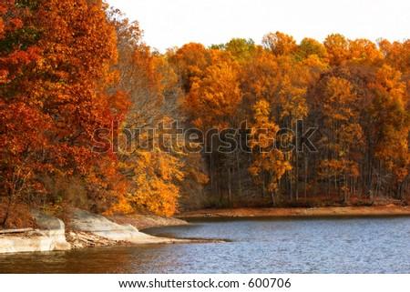 Triadelphia lake in autumn. Maryland - stock photo