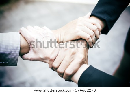 Triange Teamwork Togetherness Collaboration Concept.Top view